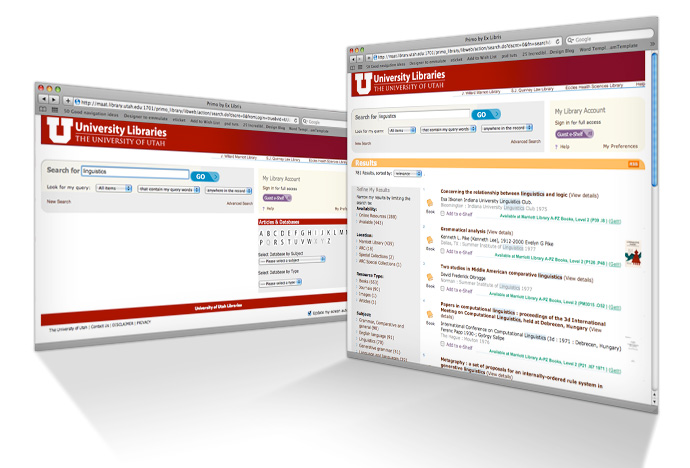 New University Libraries catalog pages