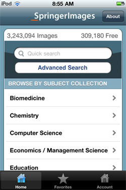 screen shot of Springer Images app