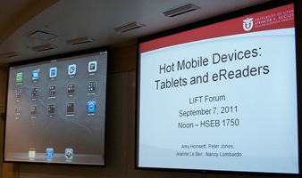 Screens showing slides and an iPad interface.