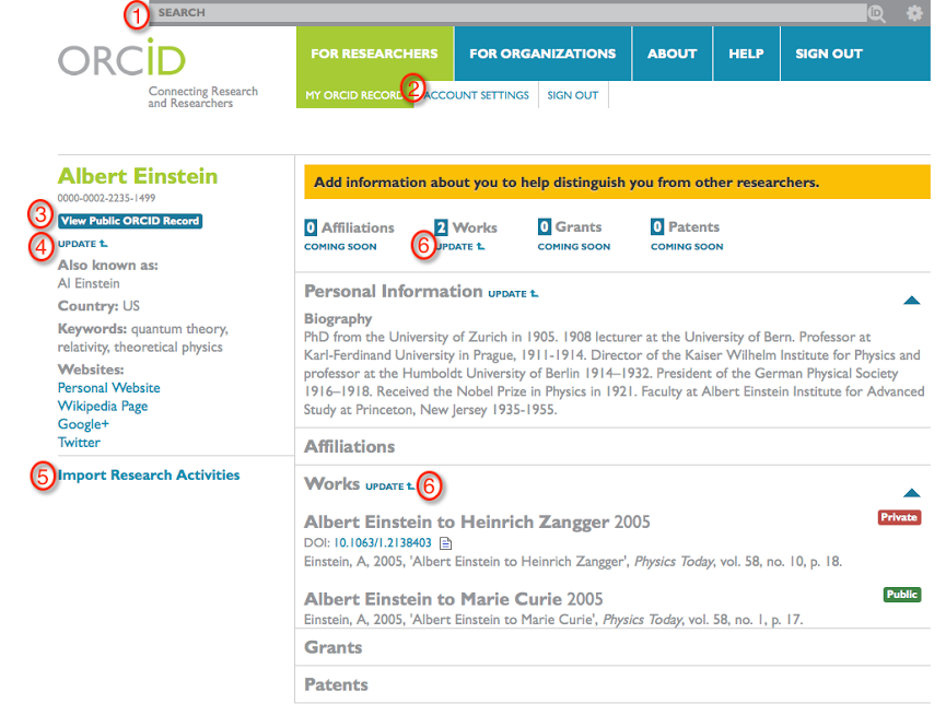 ORCID Profile Example