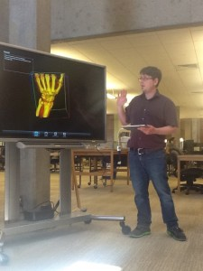 James Hughes manipulates the hand image on ImageVis3D