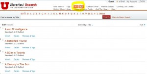 Screenshot of A to Z lis of online full text.t