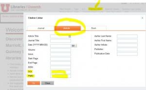 Screenshot of CitationLinker for articles.