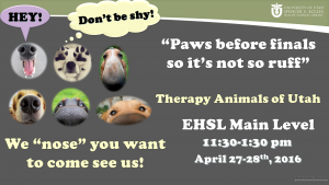 April 2016 Therapy Animals