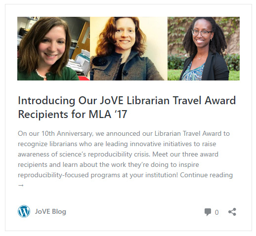 JoVE Recipients for MLA17