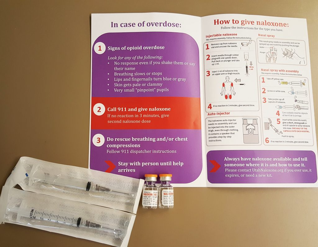 Included in the kit: instructions, two syringes, two bottles of naloxone