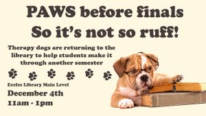 Therapy dog flyer for December 4th