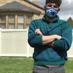 Libraraian brandon wearing vogmask to protect from covid-19