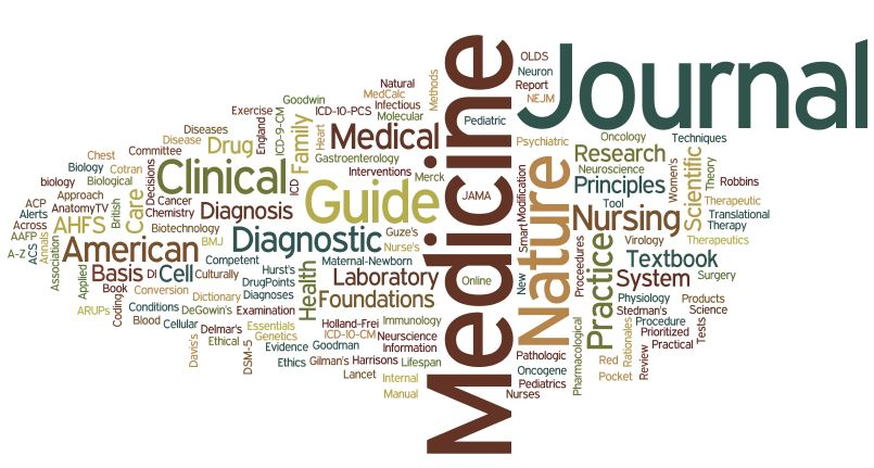 Word cloud of ebook and ejournal titles available from Eccles Health Sciences Library.